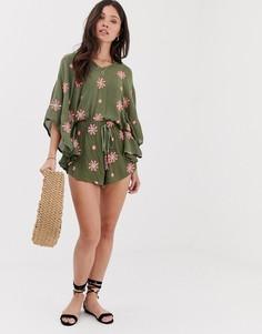 Пляжный oversize-ромпер с цветочной вышивкой Anmol-Зеленый