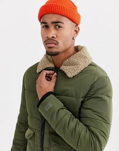 Зеленая дутая куртка со съемным искусственным мехом Only & Sons-Зеленый