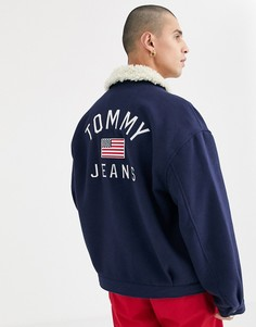 Темно-синяя куртка с меховым воротником Tommy Jeans-Темно-синий