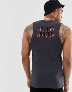 """Облегающая майка из органического хлопка с принтом """"Avant Garde"""" на спине ASOS DESIGN-Черный"""