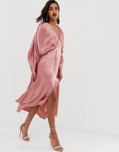 """Атласное платье миди с рукавами \""""летучая мышь\"""" ASOS EDITION-Розовый"""