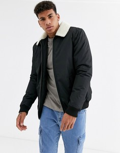 Куртка пилот с воротником из искусственного меха Threadbare-Черный