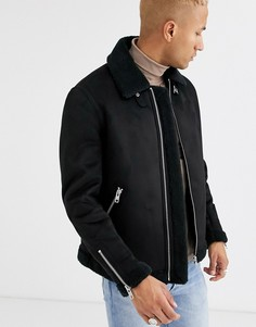 Черная куртка пилот из искусственной замши ASOS DESIGN-Черный