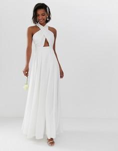Свадебное платье с перекрестной отделкой спереди ASOS EDITION-Белый
