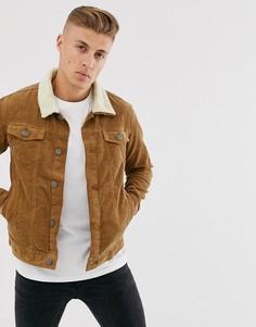 """Вельветовая куртка с воротником \""""борг\"""" Brave Soul-Светло-коричневый"""