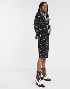Платье-туника с фольгированным принтом Religion-Черный