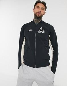 Черная куртка в университетском стиле adidas-Черный