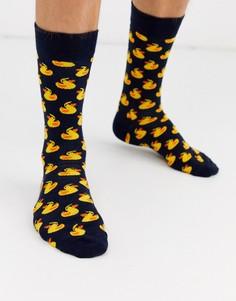 Желтые носки с принтом Happy Socks-Мульти