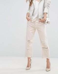 Прямые укороченные джинсы с завышенной талией и необработанным краем J Brand Ivy-Розовый