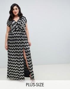 Платье макси с разрезом и зигзагообразным рисунком Flounce London Plus-Черный