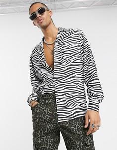 """Рубашка с длинными рукавами и принтом \""""зебра\"""" One Above Another-Черный"""
