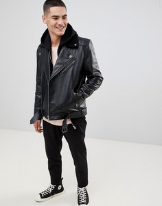 Черная кожаная байкерская куртка ASOS DESIGN-Черный