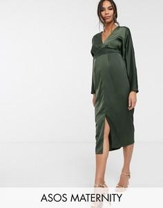 """Атласное платье миди с рукавами \""""летучая мышь\"""" и запахом ASOS DESIGN Maternity-Зеленый"""