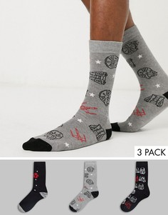 """3 пары носков с принтом \""""Star Wars\"""" New Look-Мульти"""