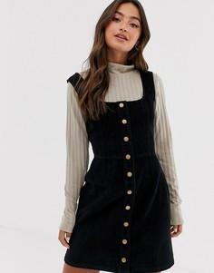 Вельветовое платье мини на пуговицах Brave Soul meena-Черный