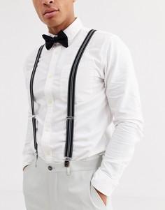 Черно-белый галстук-бабочка и подтяжки ASOS DESIGN-Черный