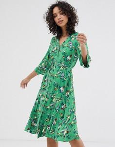 Платье миди с цветочным принтом Finery Daniella-Зеленый