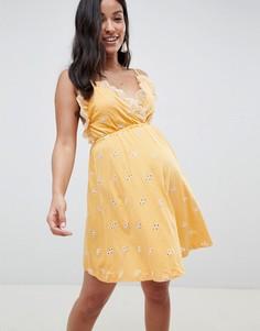 Сарафан мини с вышивкой ришелье ASOS DESIGN Maternity-Желтый