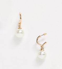 Эксклюзивные золотистые серьги-кольца в винтажном стиле с искусственным жемчугом Liars & Lovers-Золотой