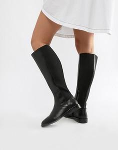 Высокие кожаные сапоги ASOS DESIGN Cadence-Черный