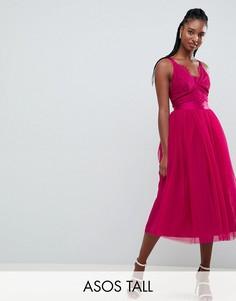 Платье миди для выпускного с ленточным поясом, кружевным топом и юбкой из тюля ASOS DESIGN TALL-Розовый