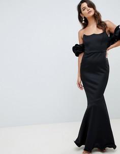 Премиум-платье макси с широким вырезом и топом на косточках ASOS DESIGN-Черный