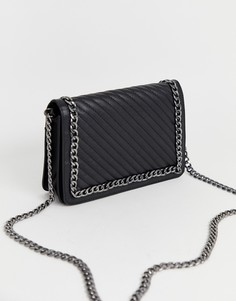 Кожаная стеганая сумка на плечо с цепочкой ASOS DESIGN-Черный