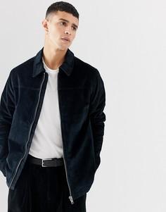Вельветовая куртка на молнии Selected Homme-Темно-синий