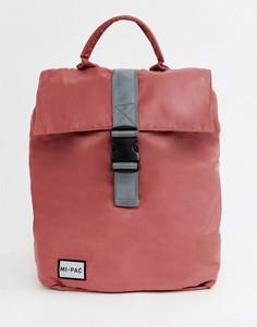 Розовый нейлоновый рюкзак с откидным клапаном и светоотражающим логотипом Mi-Pac