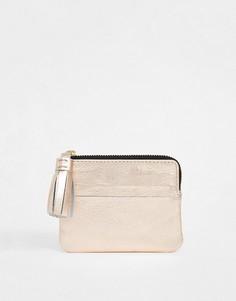 Кожаный кошелек для монет с кисточкой ASOS DESIGN-Медный