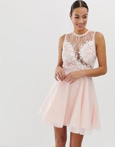 Короткое приталенное платье с высоким воротом AX Paris-Розовый