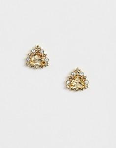 Серьги-гвоздики с камнями ASOS DESIGN-Золотой