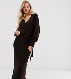 Платье миди с запахом и поясом Micha Lounge - Luxe-Коричневый