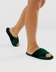 Зеленые бархатные слиперы с перекрестными ремешками ASOS DESIGN Zest-Зеленый
