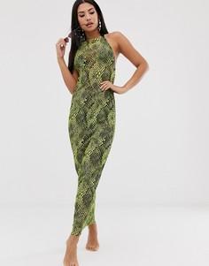 Пляжное платье макси с принтом под кожу рептилии и завязкой ASOS DESIGN-Мульти