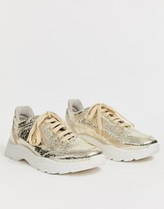 Золотистые массивные кроссовки ASOS DESIGN Dexie-Золотой