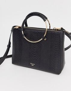Черная сумка со змеиным рисунком и круглыми ручками Dune Dry-Мульти