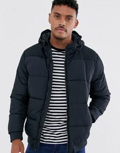 Темно-синяя дутая куртка с капюшоном Only & Sons-Темно-синий