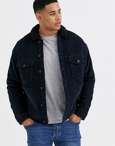 Темно-синяя куртка с воротником из искусственного меха Only & Sons-Темно-синий