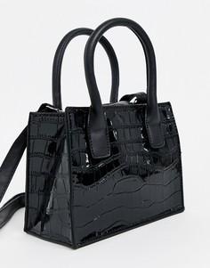 Черная сумка-тоут с рисунком крокодиловой кожи New Look-Черный