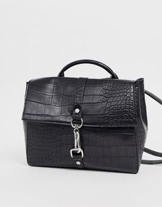 Рюкзак с крокодиловым рисунком ASOS DESIGN-Черный