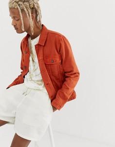 Оранжевая джинсовая куртка в стиле вестерн ASOS DESIGN-Оранжевый
