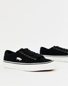 Черные кроссовки Vans Court Icon-Красный