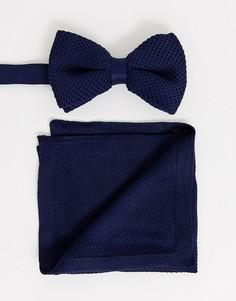Темно-синий трикотажный галстук-бабочка и платок для нагрудного кармана ASOS DESIGN