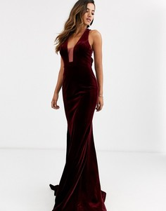 Платье с глубоким вырезом Jovani-Красный