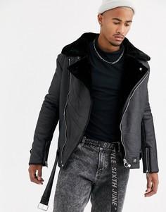 Черная байкерская куртка с искусственной овечьей шерстью Sixth June-Черный