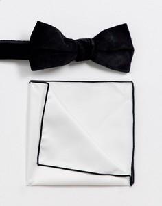 Бархатный галстук-бабочка и платок для пиджака Selected Homme-Мульти