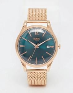 Золотые наручные часы с плетеным дизайном ремешка Henry London Stratford-Золотой