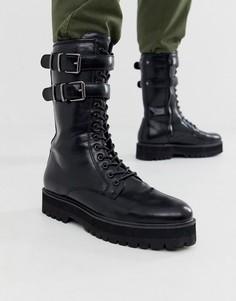 Черные ботинки из искусственной кожи на шнуровке ASOS DESIGN-Черный