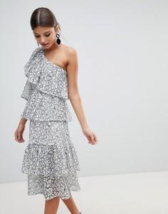 Ярусное платье миди на одно плечо Missguided-Белый